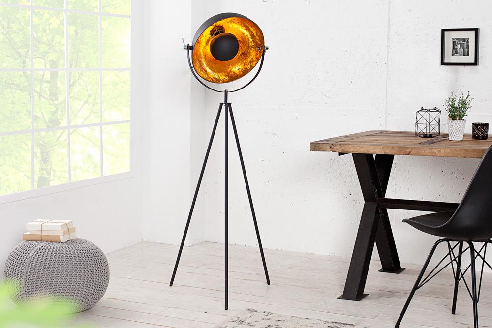 Moderne Design Stehlampe STUDIO 140cm schwarz Blattgold