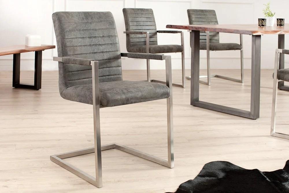 Industrial Freischwinger Stuhl LOFT vintage grau mit
