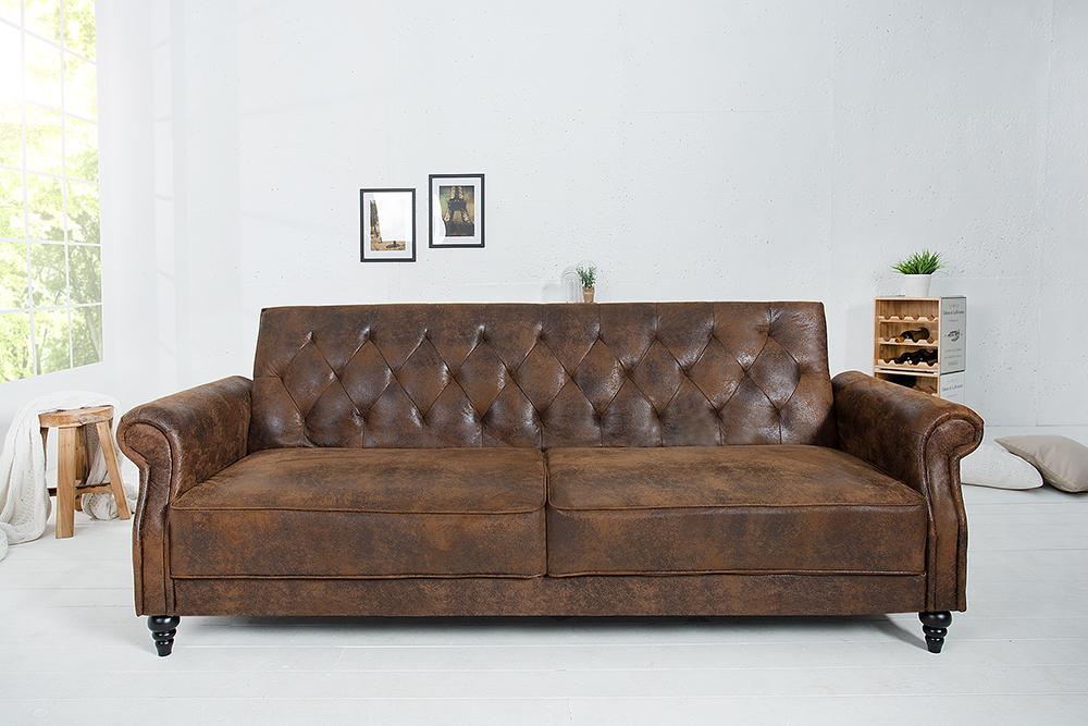 Design Sofa MAISON BELLE AFFAIRE 220cm antik braun mit Schlaffunktion  RiessAmbientede