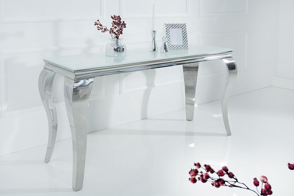 Stylischer Design Konsolentisch MODERN BAROCK 140cm Edelstahl mit Tischplatte aus weiem