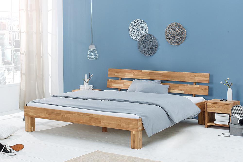 Modernes Design Doppelbett WOTAN 180cm Massivholz Eiche gelt  RiessAmbientede