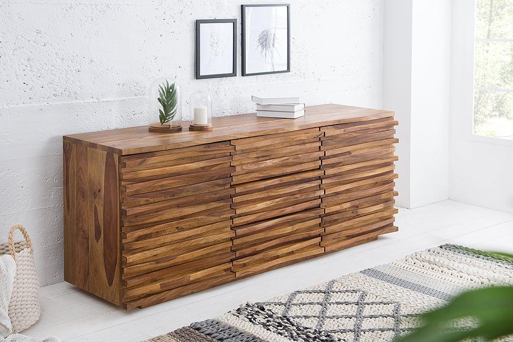Massives Sideboard RELIEF 160cm Sheesham Holz stone finish
