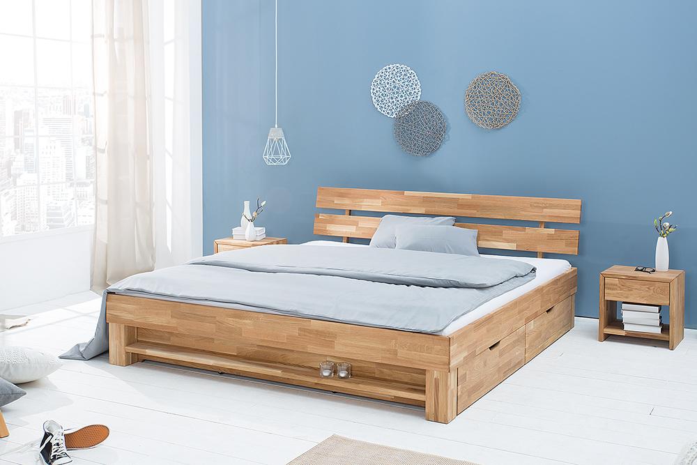 Modernes Design Doppelbett WOTAN 180cm Massivholz Eiche gelt inkl Regal und Schubladen  Riess