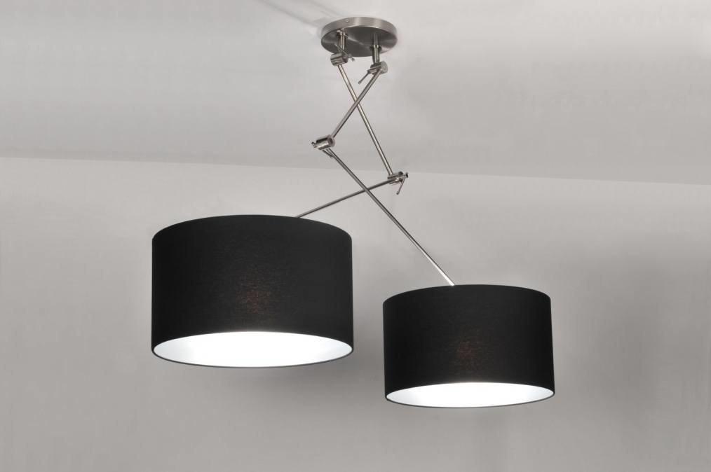 Hanglamp 30097 Modern Zwart Stof Rond