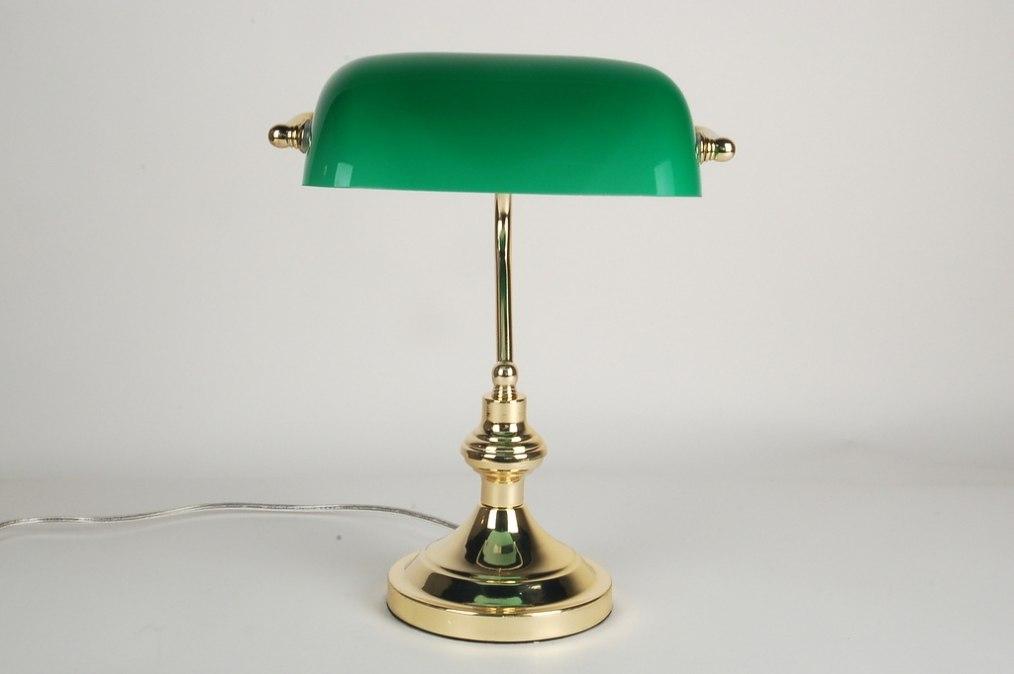 Tafellamp 66385 Klassiek Retro Groen Messing