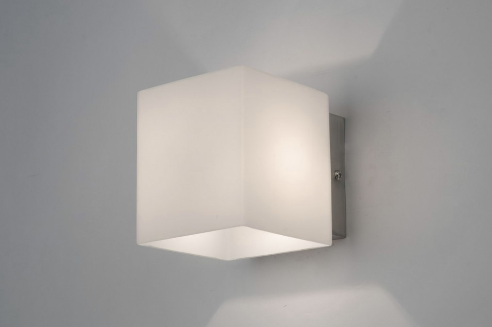 Wandlamp 70701 Modern Glas Wit Opaalglas Rechthoekig