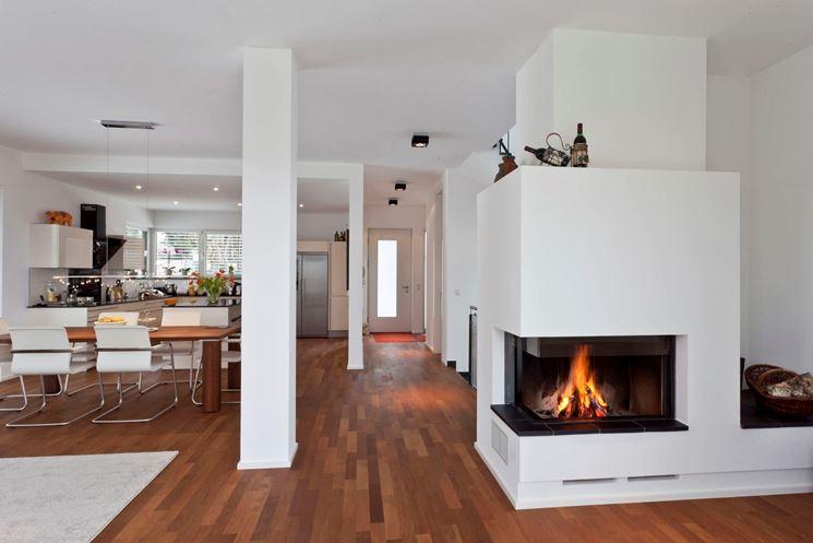 Camino tra soggiorno e cucina  Riscaldamento Casa