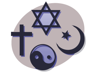 Symbols for the big religions around the world