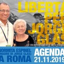 Libertà per Jorge Glas (ex vice presidente dell'Ecuador). Il 21 novembre iniziativa a Roma