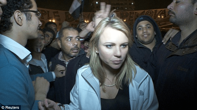 CBS reporter Lara Logan, photographed in Cairo's Tahrir Square moments before she was assaulted in 2011. Her attack was one of the first known instances of 'taharrush' to be reported in Western media</p data-recalc-dims=