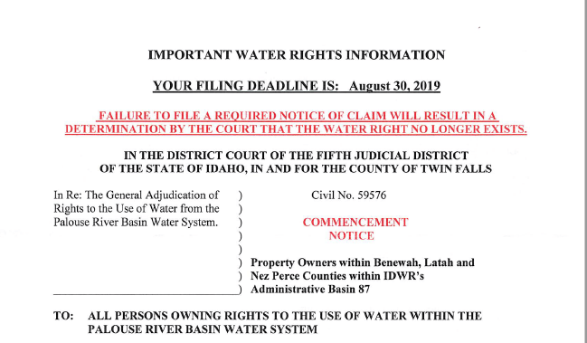 Water Rights Notification for Latah County