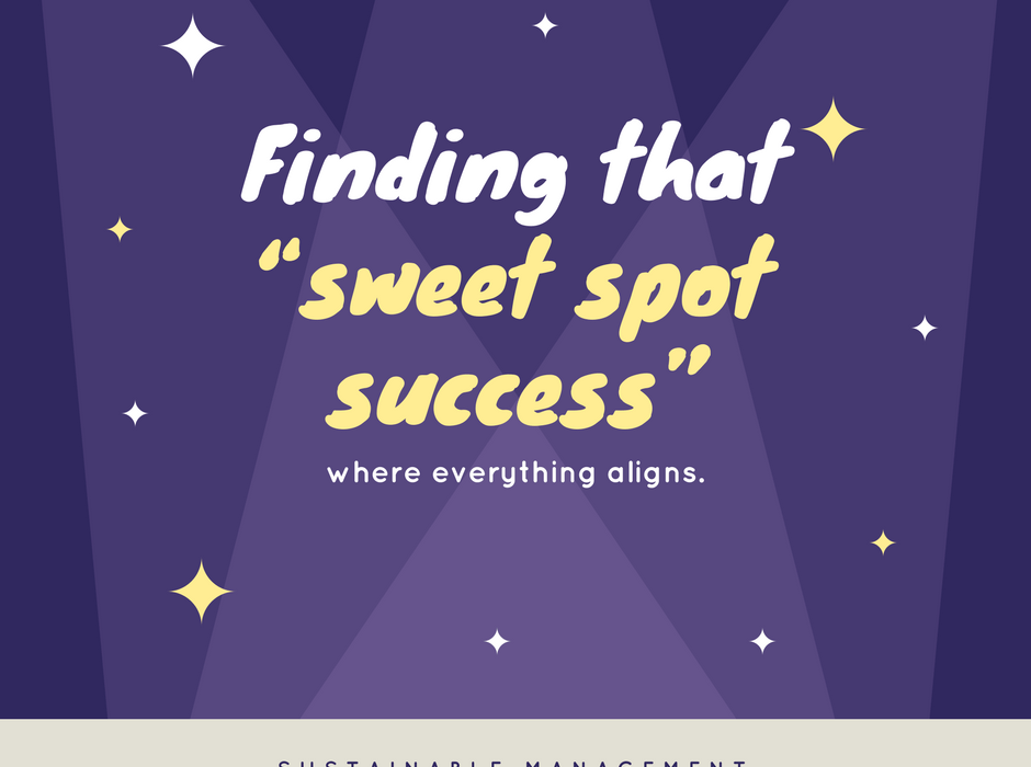 "Finding that ""sweet spot success"" where everything aligns."