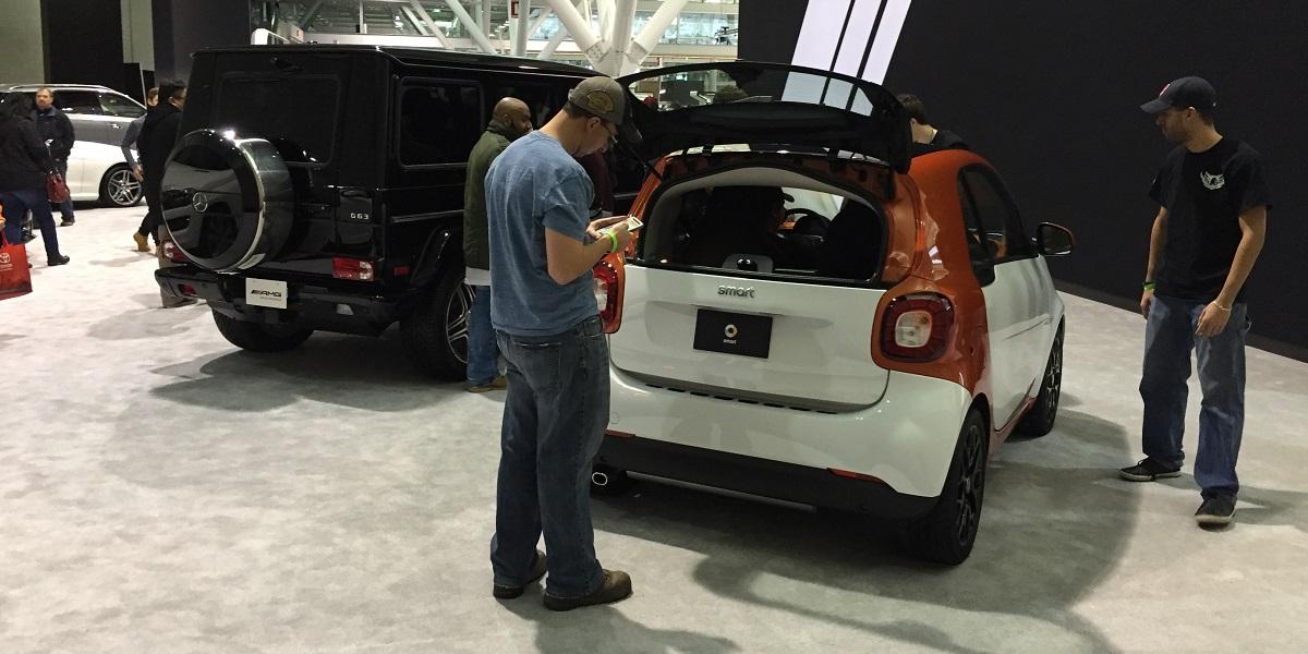 Mercedes G-Wagen and Smart car
