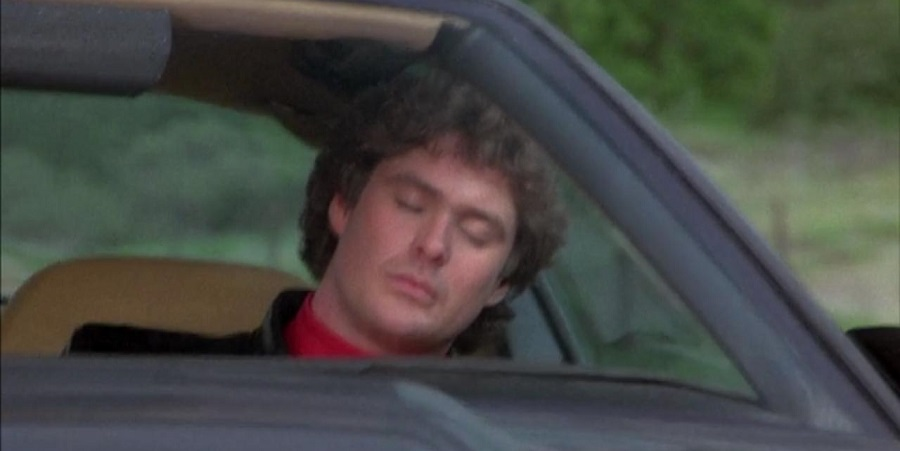 Michael Knight asleep at the wheel of his autonomous car