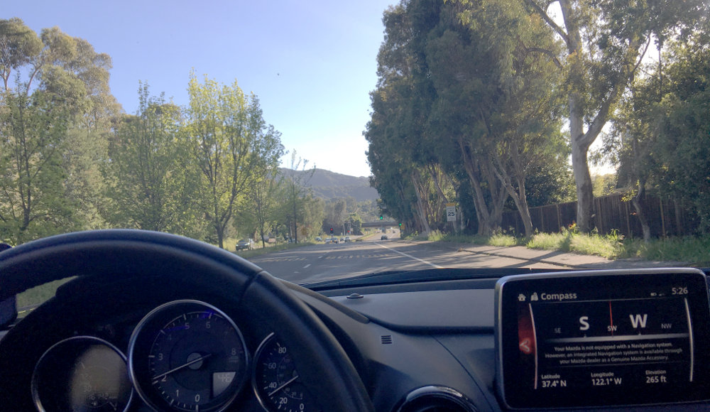 Driving the 2016 Mazda MX-5 with the Foothills in the View