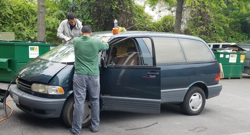 putting in the Previa's windshield