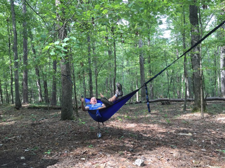 My brother goofing off in the hammock.