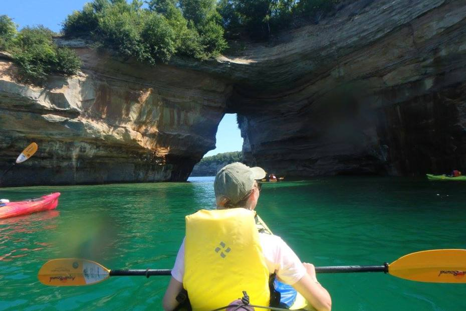 Pictured Rocks National Lakeshore in the Upper Peninsula of Michigan, a great vacation for the adventurer. Sea kayaking, backpacking, hiking are a few of the some activities at the park.