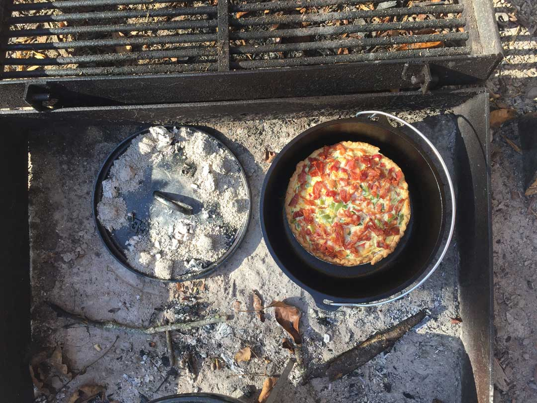 Lagena's Quiche and French toast campfire recipes. Camp cookie gourmet.