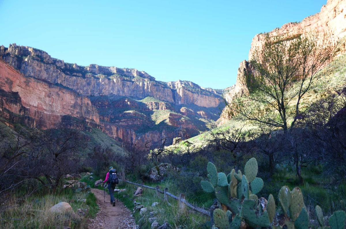 Backpacking the Bright Angel Trail in Grand Canyon National Park.