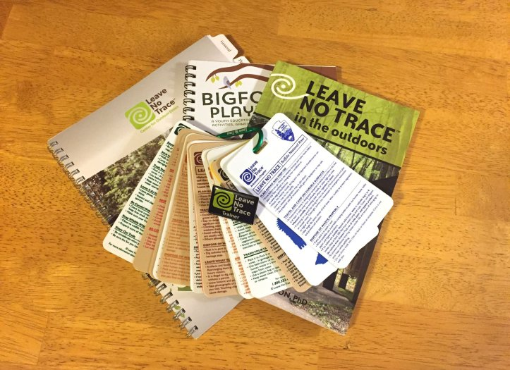 Materials I received from the Leave No Trace Trainer Course.