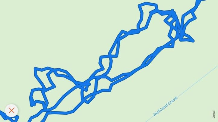 This is how my GPS mapped me once when I was bushwhacking and didn't plan my hike very well