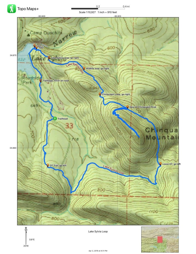 Map of the extended Lake Sylvia Loop