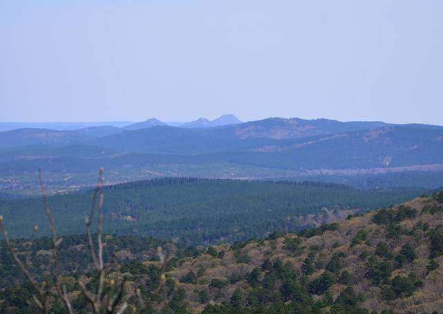 Pinnacle Mountain can be seen from Chinquapin Mountain. This is one of the five best vistas in the Ouachita Mountains