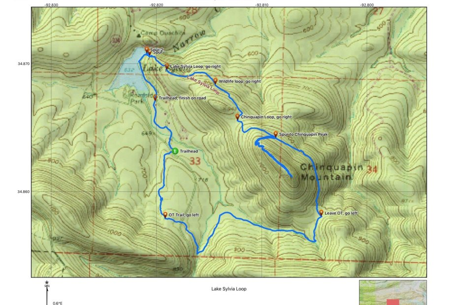 A topographical map of Lake Sylvia Recreation Area is shown