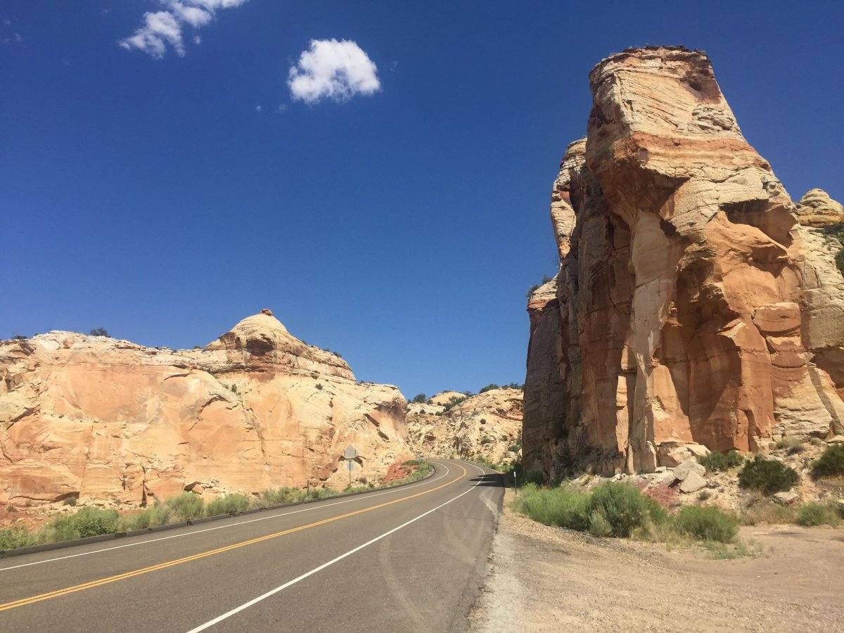 The highway through Grand Staircase Escalante in Utah is shown