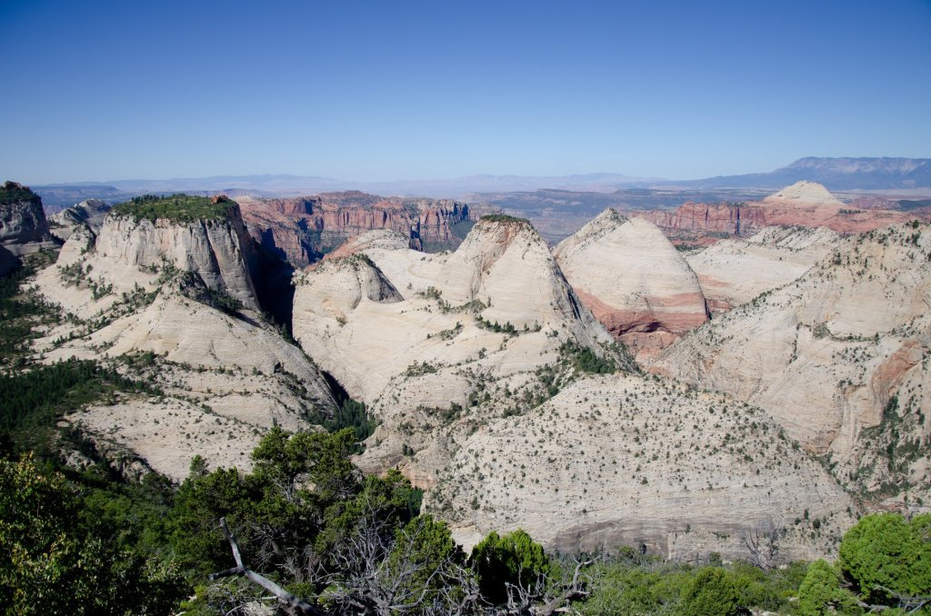 Sweeping views of valleys below are shown along the West Rim Trail at Zion National Park