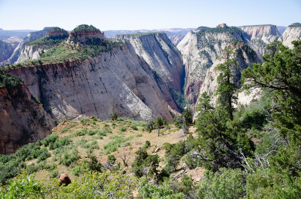 Deep valleys are shown along the West Rim Trail at Zion National Park