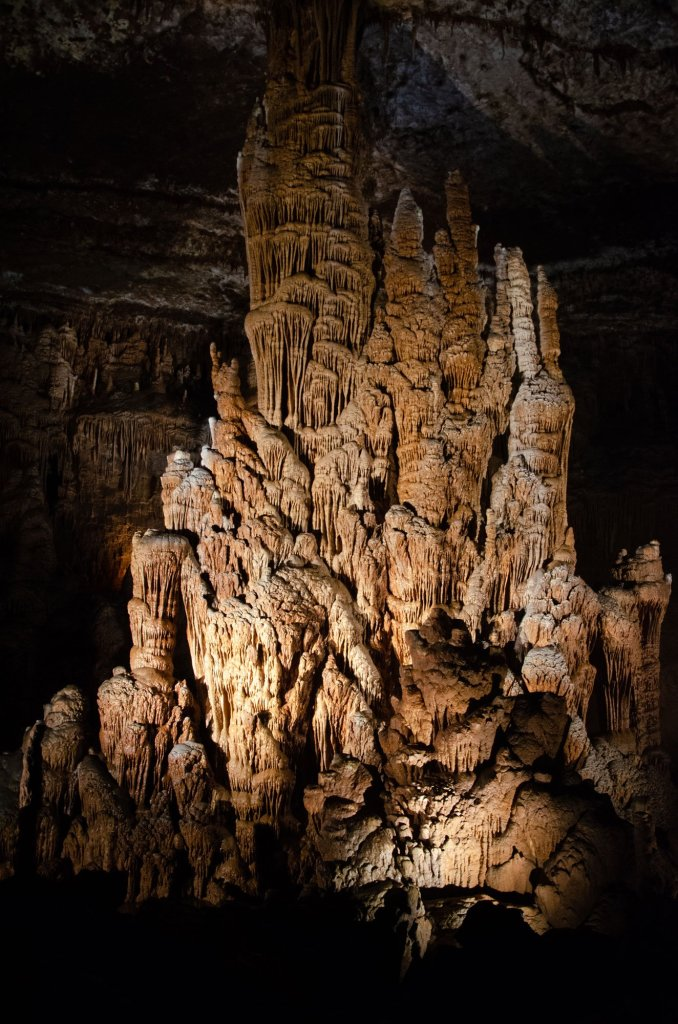 A column formation is shown along the Dripstone Trail at Blanchard Springs Caverns, Ozark National Forest, Arkansas