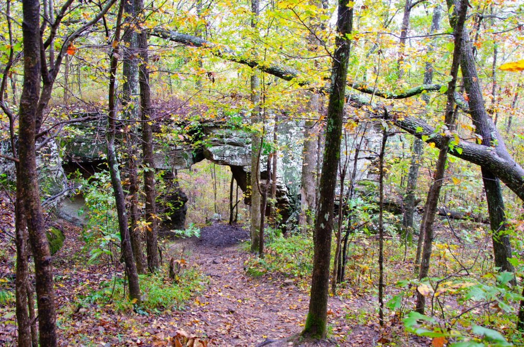 The arch is shown along the Pedestal Rocks Kings Bluff loops in the Ozark National Forest in Arkansas