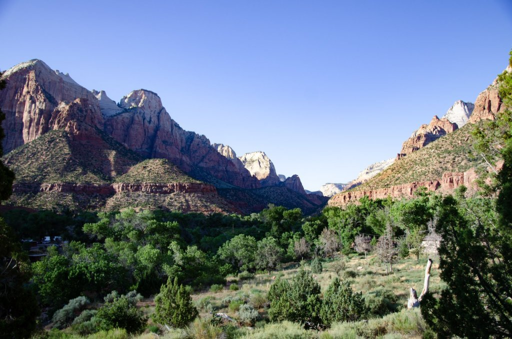 The view of Zion Canyon from the Watchman Trail