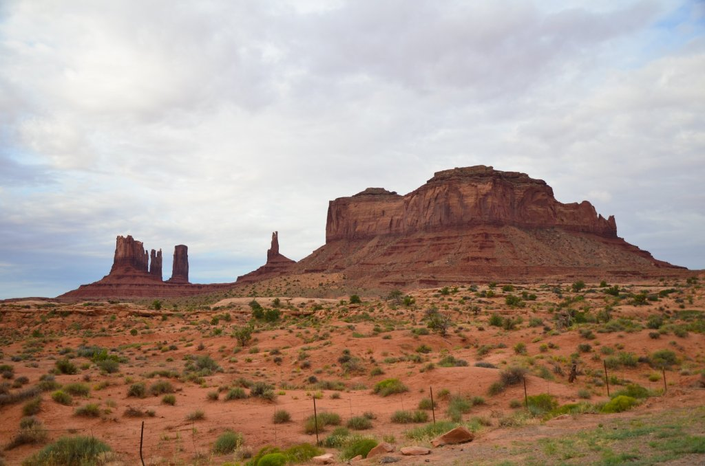 Buttes are shown against the sky