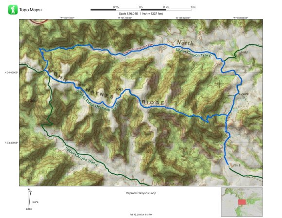 A map of Caprock Canyons Loop Trail