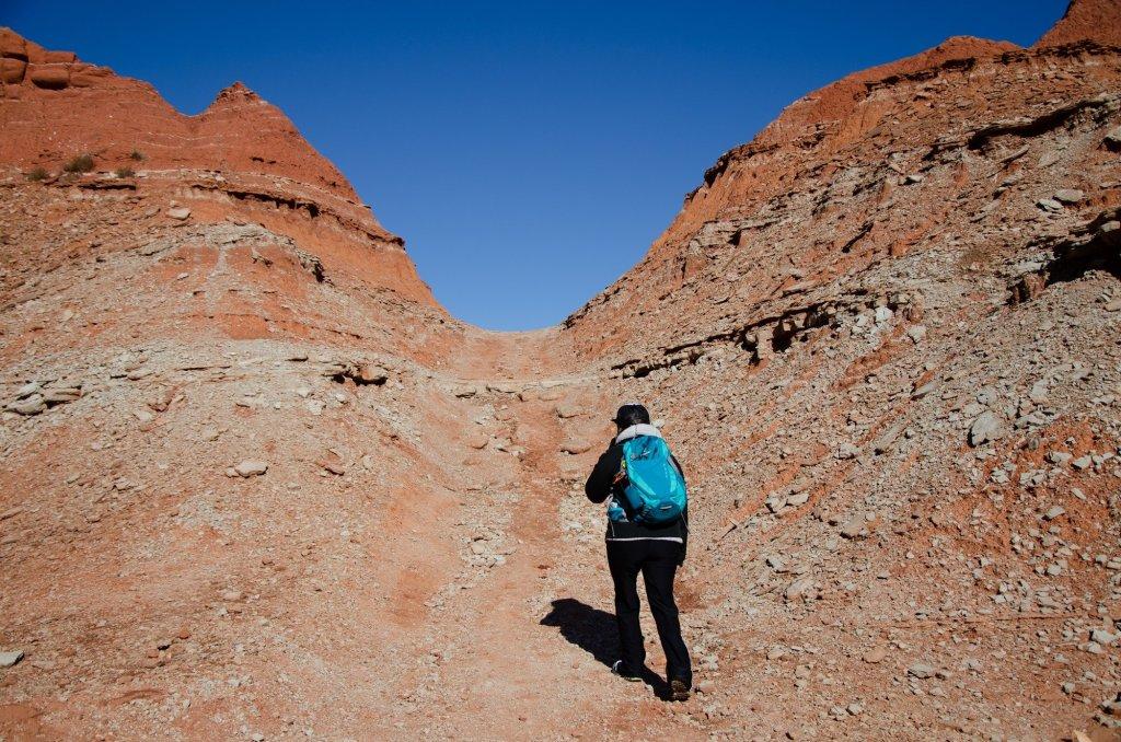 a hiker climbs along a saddle