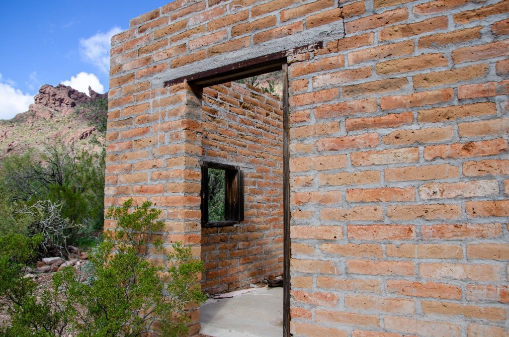 An old ranch house is shown on the Alamo Trail at Organ Pipe Cactus National Monument