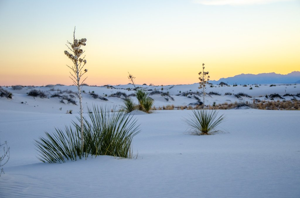The sun sets behind White Sands