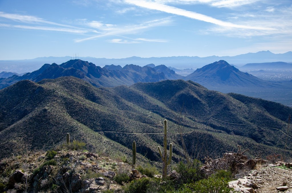 The mountains are shown to the east on Wasson Peak Loop