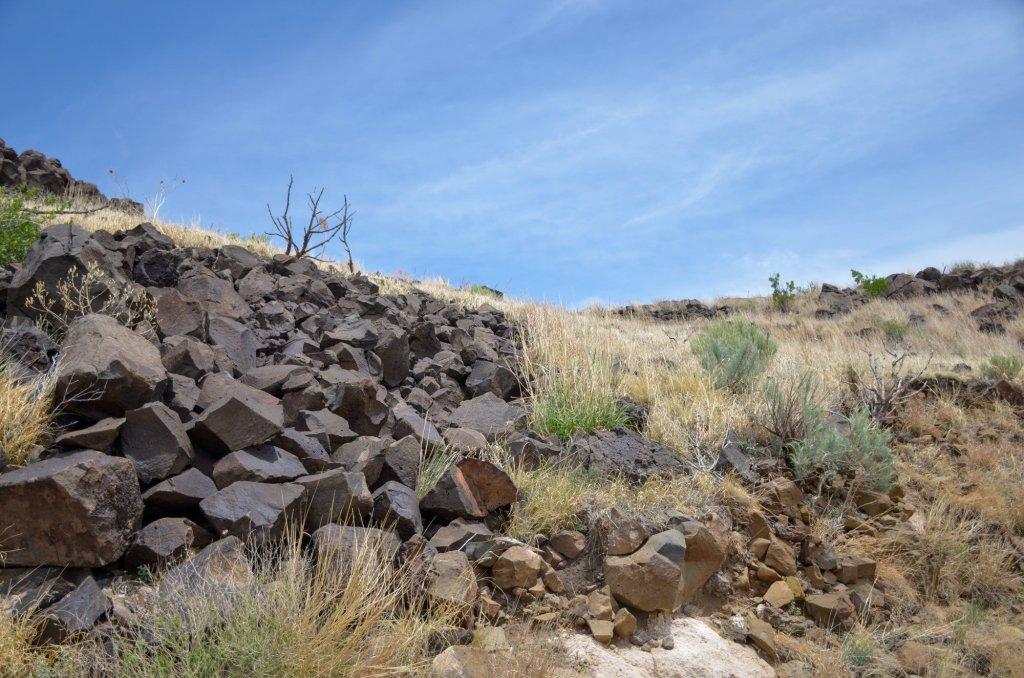 Black rocks are shown
