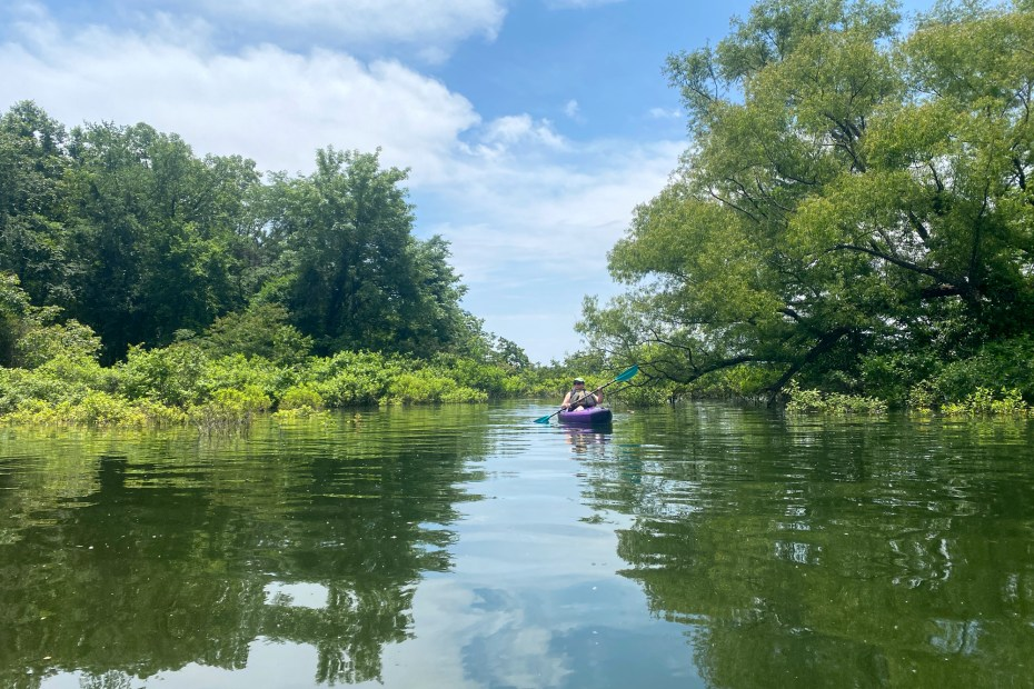 A woman paddles along the Islets Cove Paddle Trail