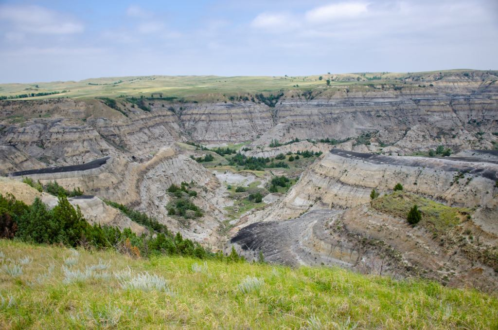 A beautiful scene is shown of the badlands