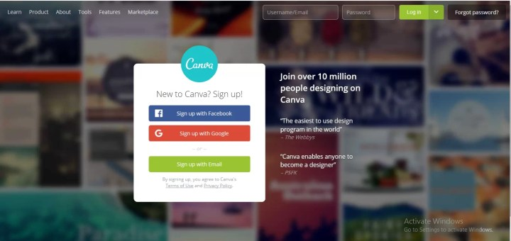 Sign Up with Canva