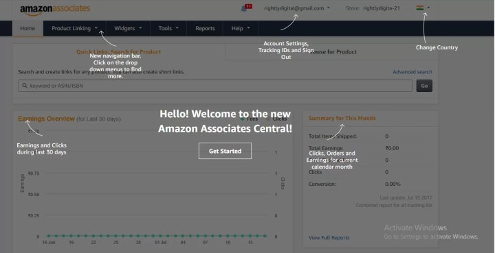 Amazon Affiliate Dashboard