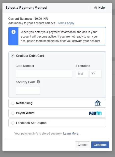 FB ADS Paytm Wallet Option