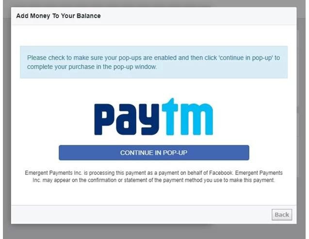 Facebook Popup Paytm