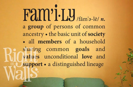 Family Definition Wall Decal Family Quotes Family Vinyl