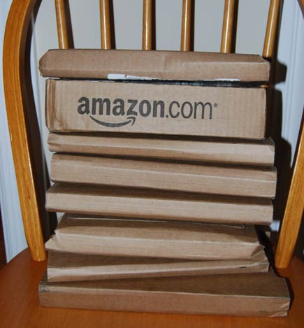 stack of amazon book orders